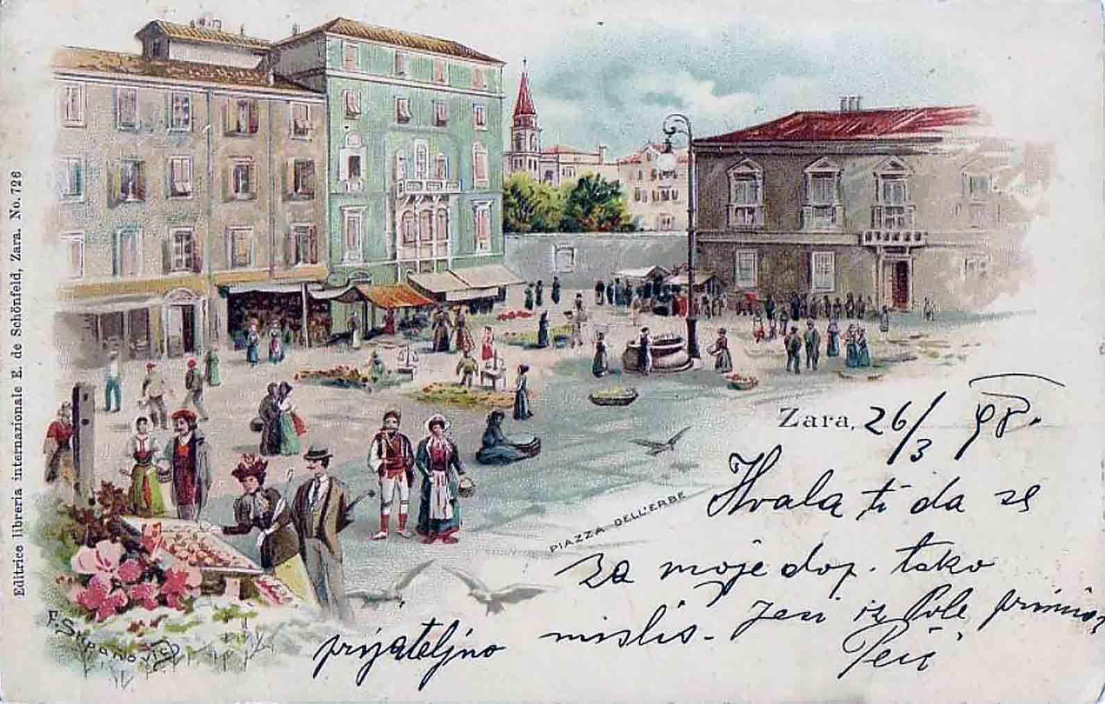 Piazza dell'Erbe Zadar 1908